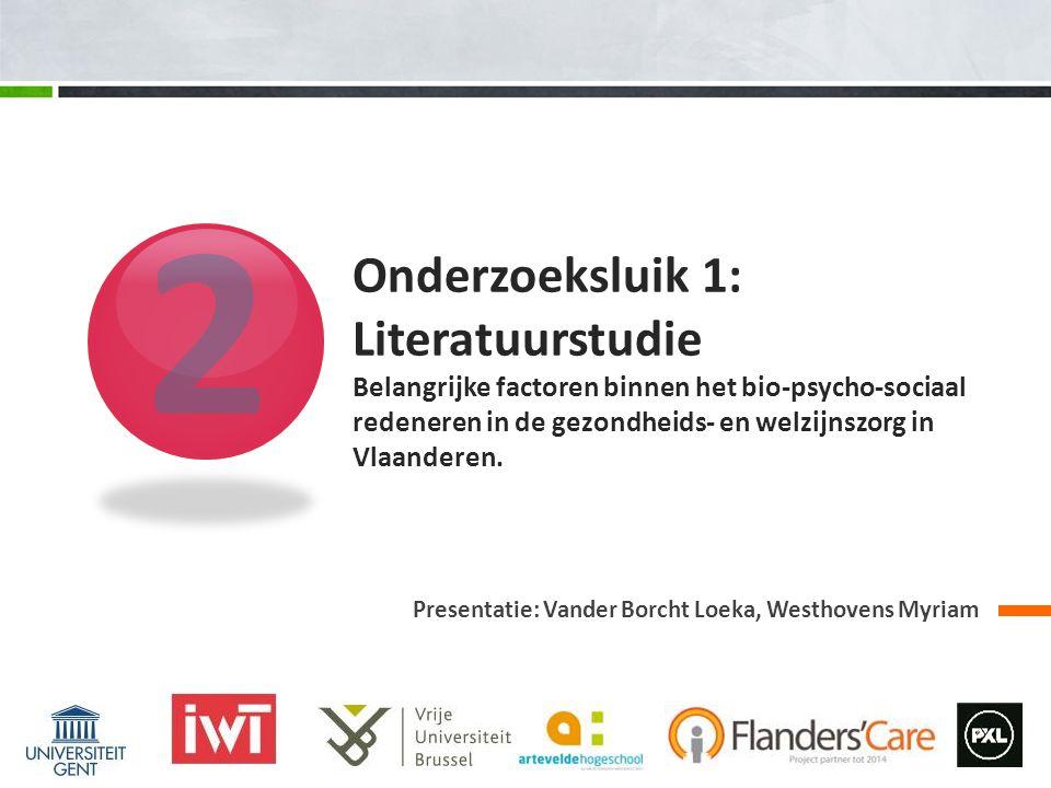 2 Presentatie: Vander Borcht Loeka, Westhovens Myriam Onderzoeksluik 1: Literatuurstudie Belangrijke factoren binnen het bio-psycho-sociaal redeneren