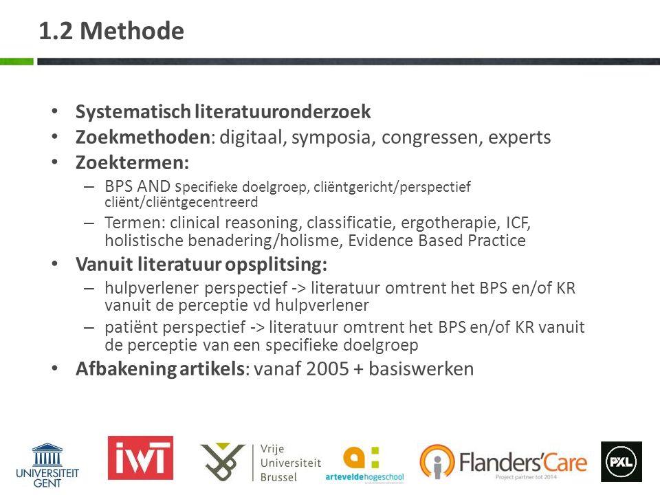 1.2 Methode Systematisch literatuuronderzoek Zoekmethoden: digitaal, symposia, congressen, experts Zoektermen: – BPS AND s pecifieke doelgroep, cliënt
