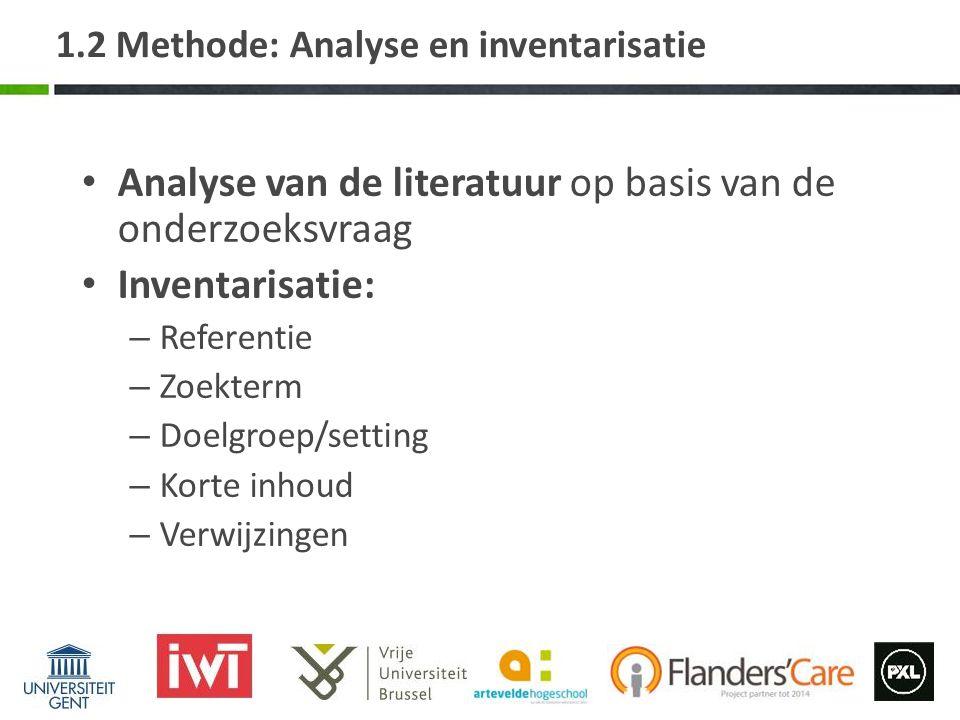 1.2 Methode: Analyse en inventarisatie Analyse van de literatuur op basis van de onderzoeksvraag Inventarisatie: – Referentie – Zoekterm – Doelgroep/s