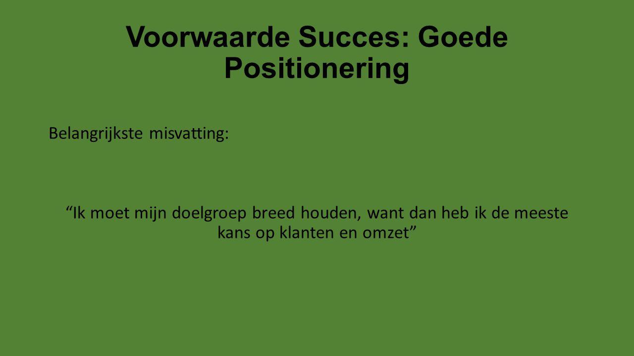 """Voorwaarde Succes: Goede Positionering Belangrijkste misvatting: """"Ik moet mijn doelgroep breed houden, want dan heb ik de meeste kans op klanten en om"""