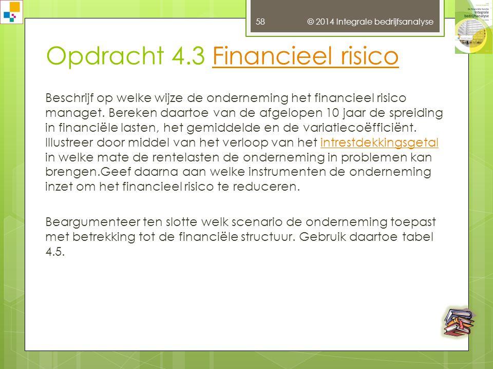 © 2014 Integrale bedrijfsanalyse 57 Opdracht 4.2 BedrijfsrisicoBedrijfsrisico Beschrijf op welke wijze de onderneming het bedrijfsrisico managet.