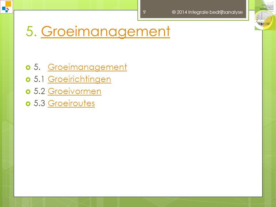 © 2014 Integrale bedrijfsanalyse 9 5.GroeimanagementGroeimanagement  5.