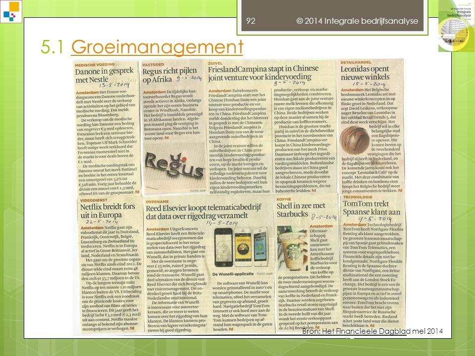 5.1 GroeimanagementGroeimanagement © 2014 Integrale bedrijfsanalyse 91 Bron: Het Financieele Dagblad mei 2014