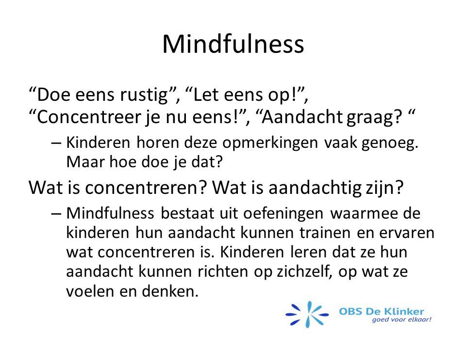 Mindfulness Doe eens rustig , Let eens op! , Concentreer je nu eens! , Aandacht graag.