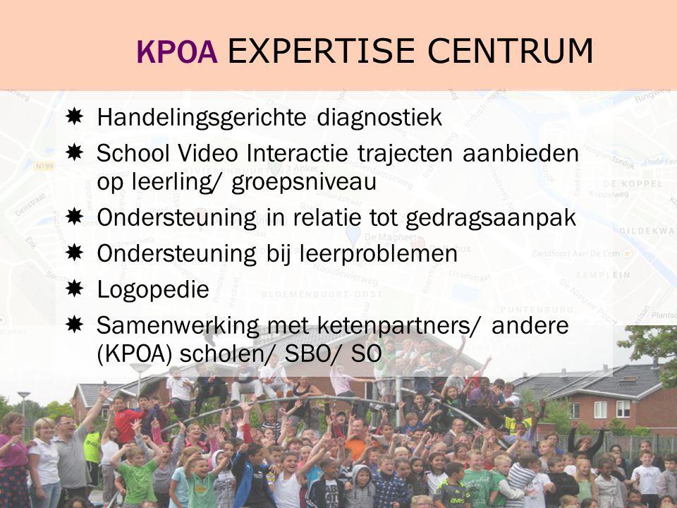 KPOA EXPERTISE CENTRUM  Handelingsgerichte diagnostiek  School Video Interactie trajecten aanbieden op leerling/ groepsniveau  Ondersteuning in rel