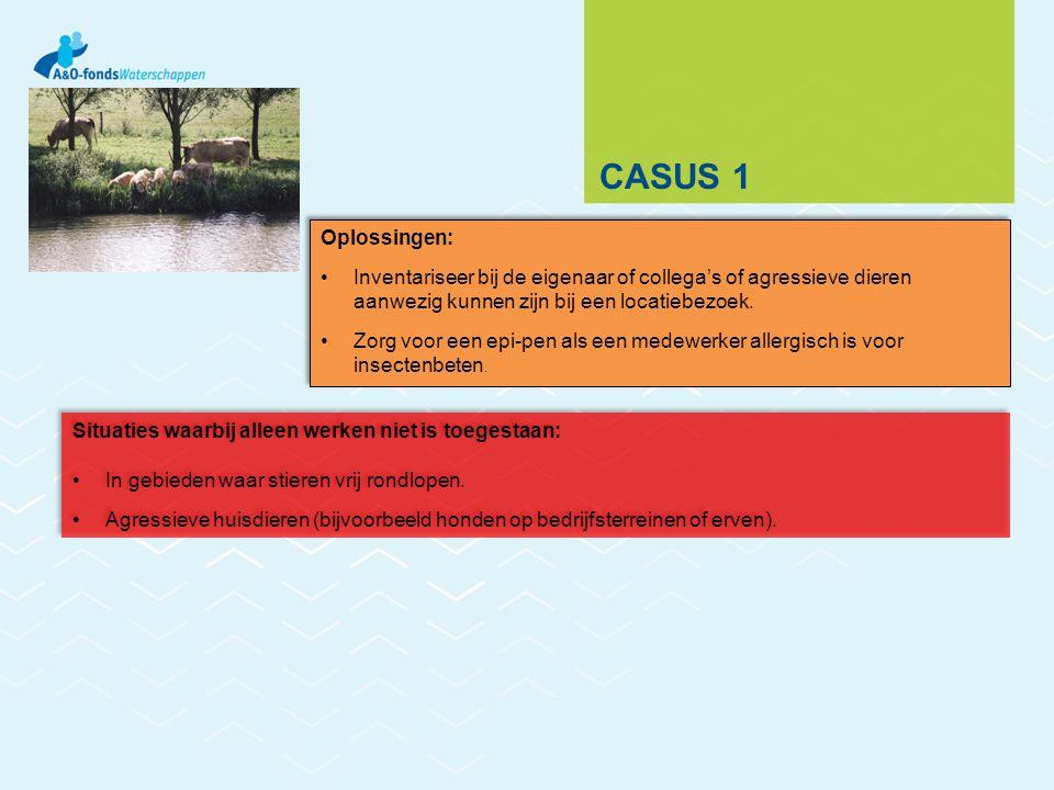 CASUS 1 Oplossingen: Inventariseer bij de eigenaar of collega's of agressieve dieren aanwezig kunnen zijn bij een locatiebezoek. Zorg voor een epi-pen