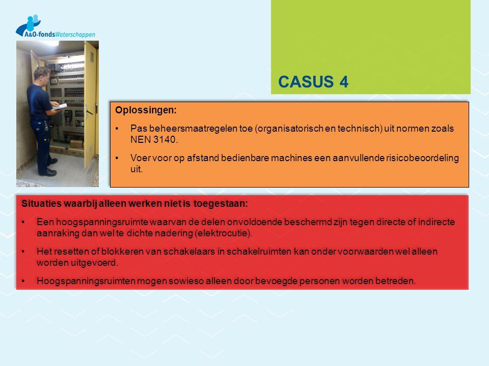 CASUS 4 Situaties waarbij alleen werken niet is toegestaan: Een hoogspanningsruimte waarvan de delen onvoldoende beschermd zijn tegen directe of indir