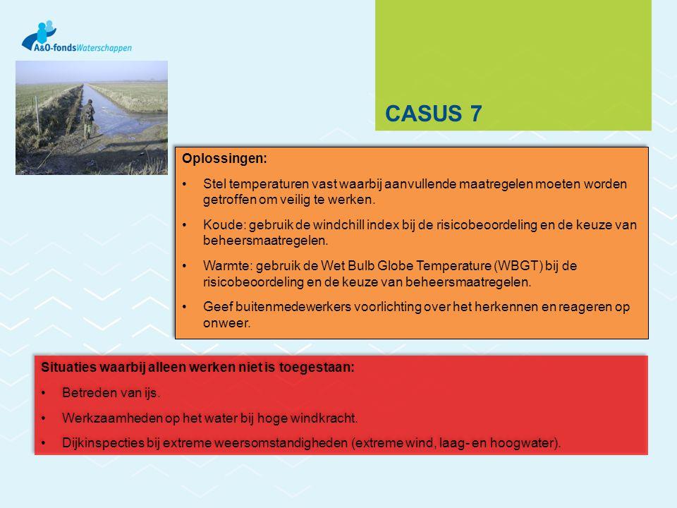 CASUS 7 Situaties waarbij alleen werken niet is toegestaan: Betreden van ijs. Werkzaamheden op het water bij hoge windkracht. Dijkinspecties bij extre