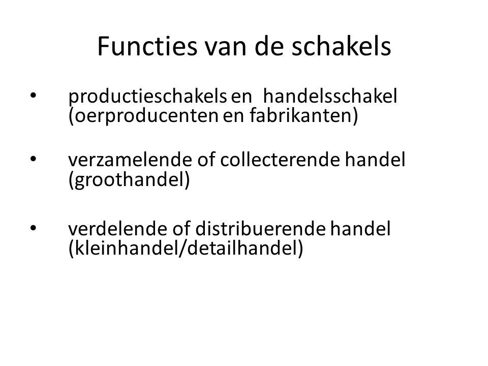 Functies van de schakels productieschakels en handelsschakel (oerproducenten en fabrikanten) verzamelende of collecterende handel (groothandel) verdel