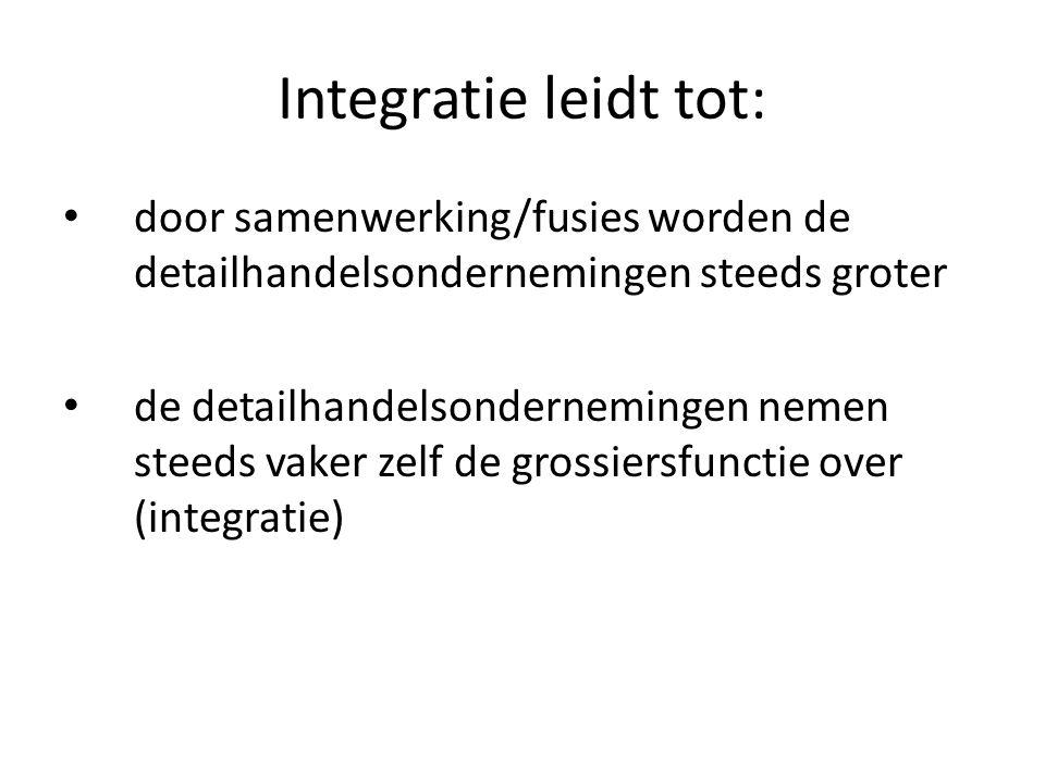 Integratie leidt tot: door samenwerking/fusies worden de detailhandelsondernemingen steeds groter de detailhandelsondernemingen nemen steeds vaker zel
