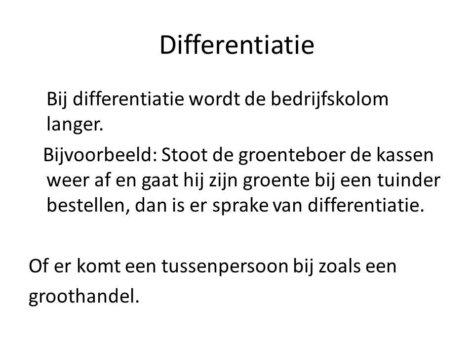Differentiatie Bij differentiatie wordt de bedrijfskolom langer. Bijvoorbeeld: Stoot de groenteboer de kassen weer af en gaat hij zijn groente bij een