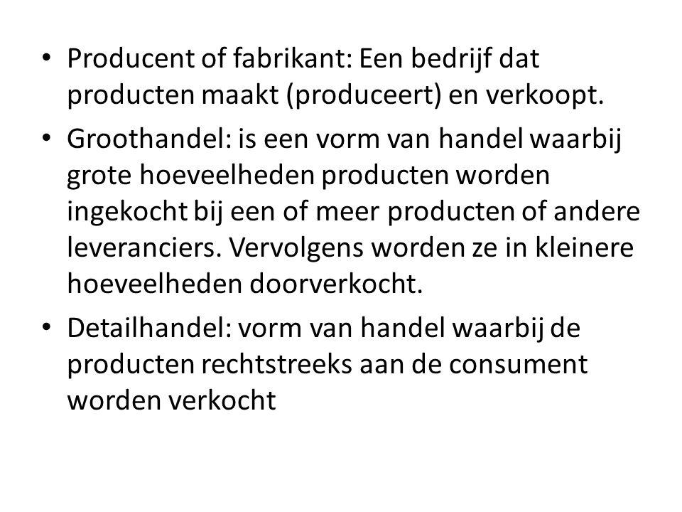 Producent of fabrikant: Een bedrijf dat producten maakt (produceert) en verkoopt. Groothandel: is een vorm van handel waarbij grote hoeveelheden produ