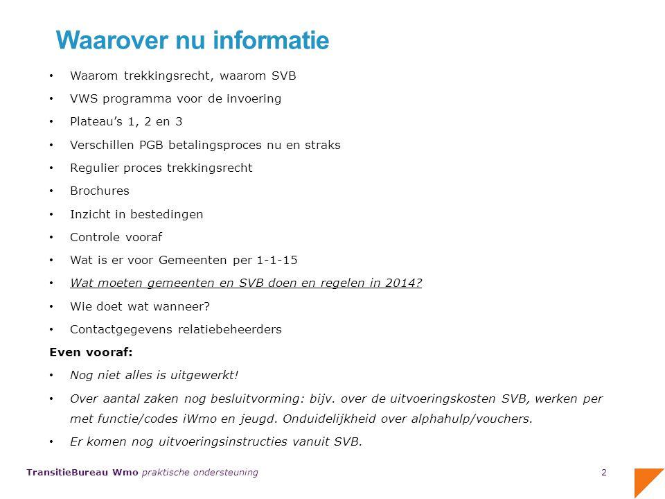TransitieBureau Wmo praktische ondersteuning Wat doet de SVB in 2014 voor 2015.