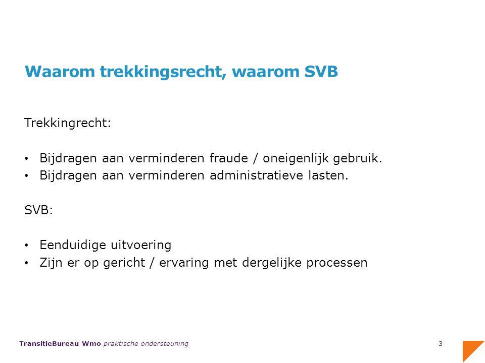 TransitieBureau Wmo praktische ondersteuning Wat moeten gemeenten in 2014 zelf regelen/bepalen/doen Autorisatie gemeente voor Mijn PGB voor gemeenten; hoe eerder geregeld, hoe beter.