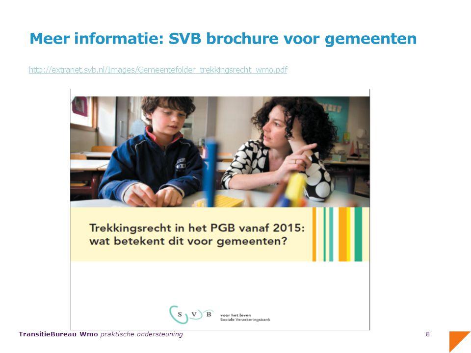 TransitieBureau Wmo praktische ondersteuning Ook een brochure voor budgethouders http://extranet.svb.nl/Images/9245NX.pdf 9