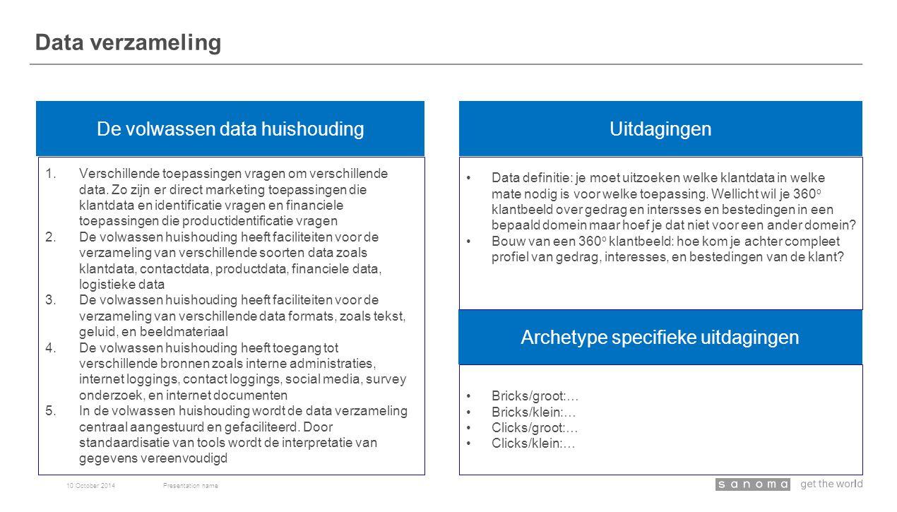 Data verzameling 10 October 2014Presentation name De volwassen data huishouding Archetype specifieke uitdagingen 1.Verschillende toepassingen vragen om verschillende data.