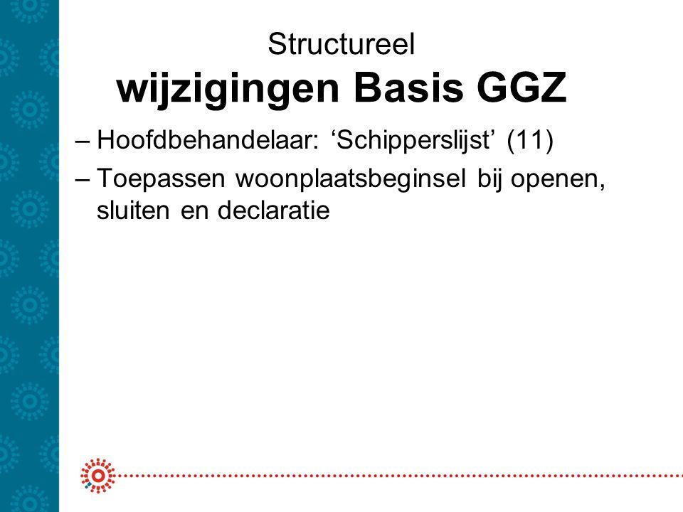 Structureel wijzigingen Basis GGZ –Hoofdbehandelaar: 'Schipperslijst' (11) –Toepassen woonplaatsbeginsel bij openen, sluiten en declaratie