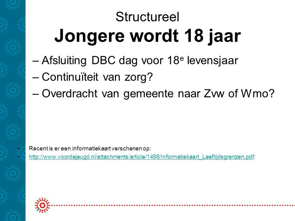 Structureel Jongere wordt 18 jaar –Afsluiting DBC dag voor 18 e levensjaar –Continuïteit van zorg? –Overdracht van gemeente naar Zvw of Wmo? Recent is