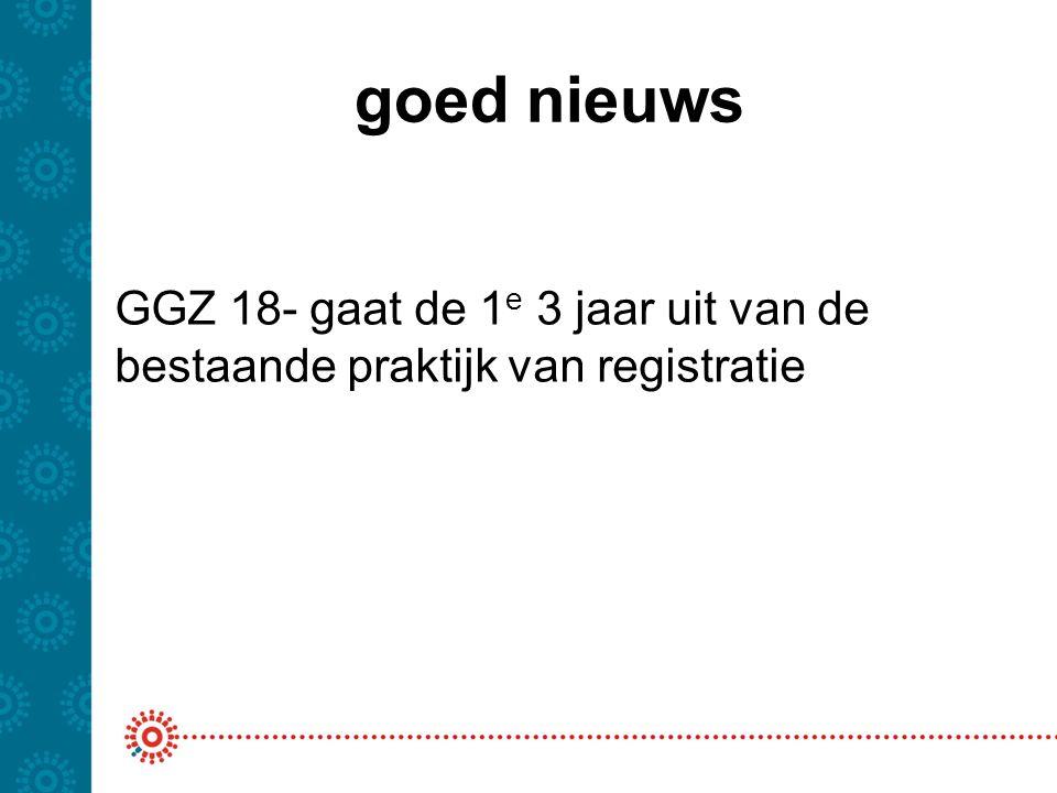 goed nieuws Wat is dat 'bestaande' -Zelfde regelgeving voor de Basis GGZ -Zelfde bronregistratie DBC's -Valideren en afleiden conform spelregels DBC GGZ -Declareren conform de GZ321 (en AW319) -Jaarverantwoording conform JMV