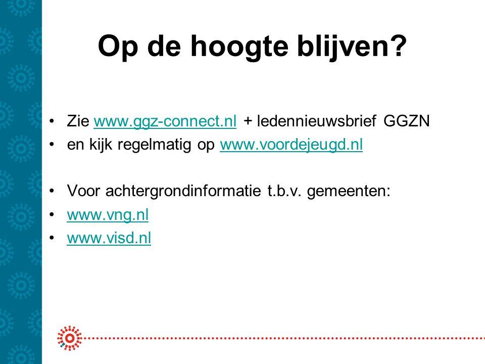 Op de hoogte blijven? Zie www.ggz-connect.nl + ledennieuwsbrief GGZNwww.ggz-connect.nl en kijk regelmatig op www.voordejeugd.nlwww.voordejeugd.nl Voor