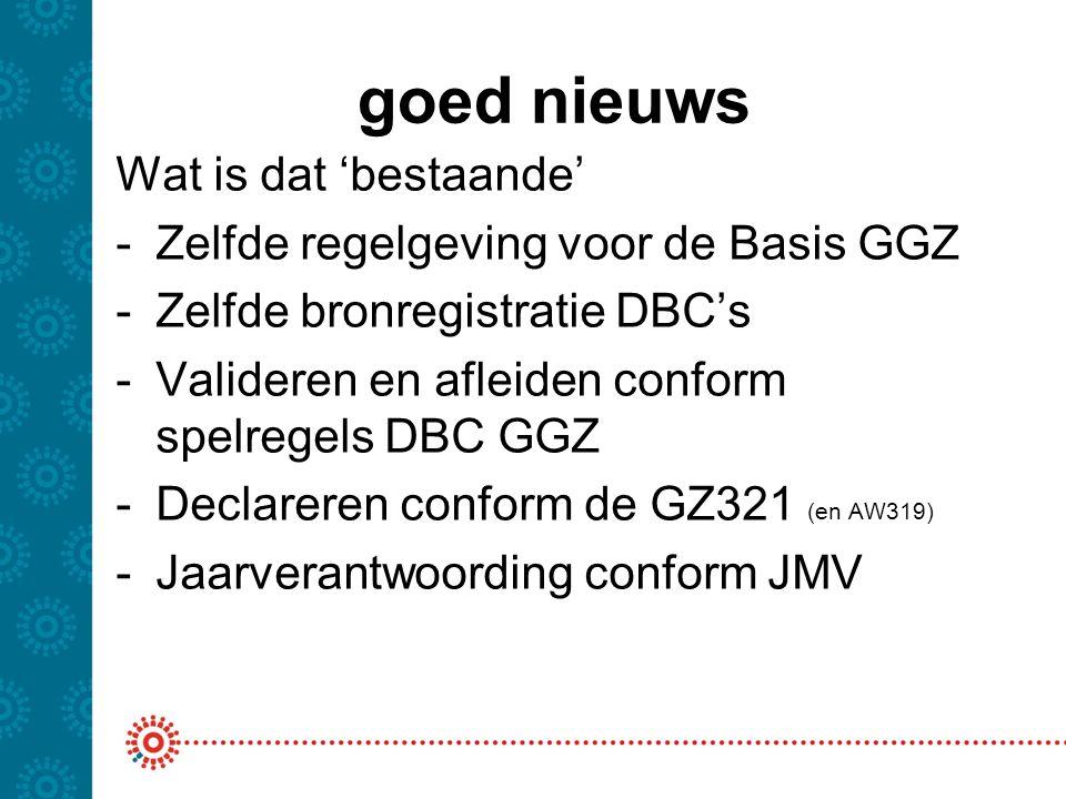 goed nieuws Wat is dat 'bestaande' -Zelfde regelgeving voor de Basis GGZ -Zelfde bronregistratie DBC's -Valideren en afleiden conform spelregels DBC G