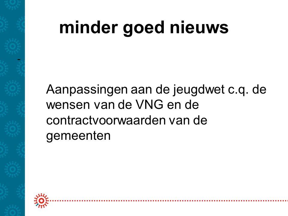 minder goed nieuws Wat gaat dat betekenen: -Beter op jeugd toegesneden DBC- productstructuur -Aangepaste declaratiestandaarden -Aanvullende eisen t.a.v.