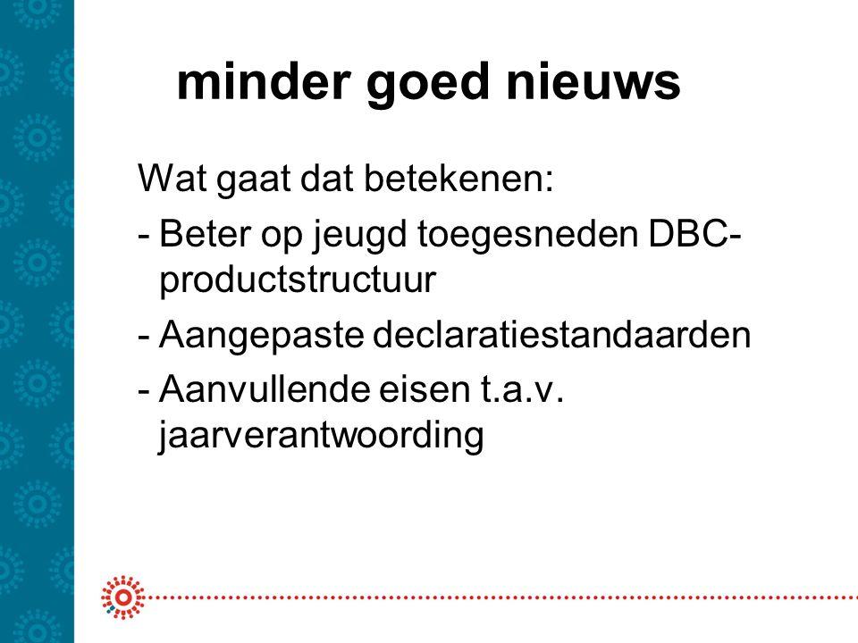 minder goed nieuws Wat gaat dat betekenen: -Beter op jeugd toegesneden DBC- productstructuur -Aangepaste declaratiestandaarden -Aanvullende eisen t.a.