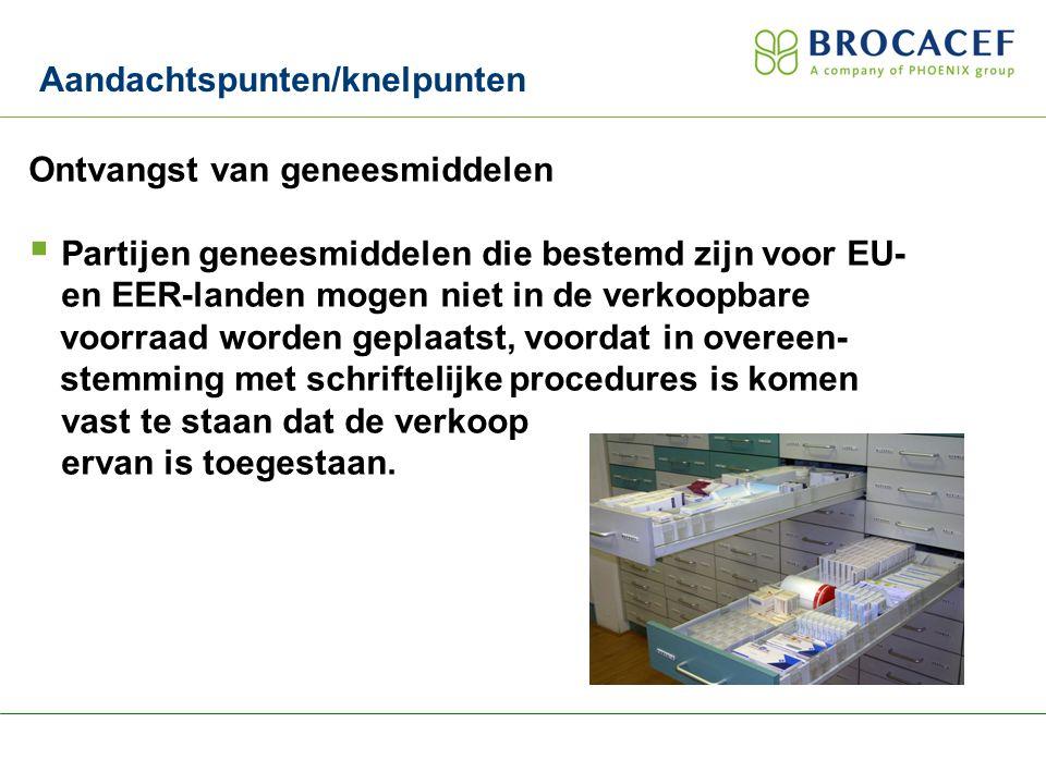 Ontvangst van geneesmiddelen  Partijen geneesmiddelen die bestemd zijn voor EU- en EER-landen mogen niet in de verkoopbare voorraad worden geplaatst, voordat in overeen- stemming met schriftelijke procedures is komen vast te staan dat de verkoop ervan is toegestaan.