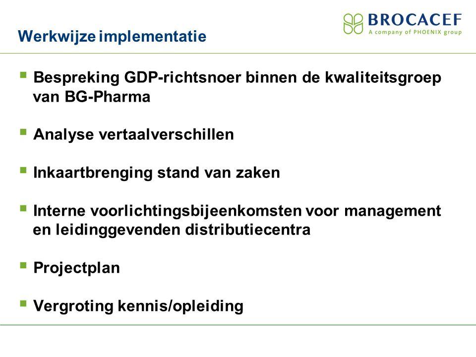  Bespreking GDP-richtsnoer binnen de kwaliteitsgroep van BG-Pharma  Analyse vertaalverschillen  Inkaartbrenging stand van zaken  Interne voorlichtingsbijeenkomsten voor management en leidinggevenden distributiecentra  Projectplan  Vergroting kennis/opleiding Werkwijze implementatie