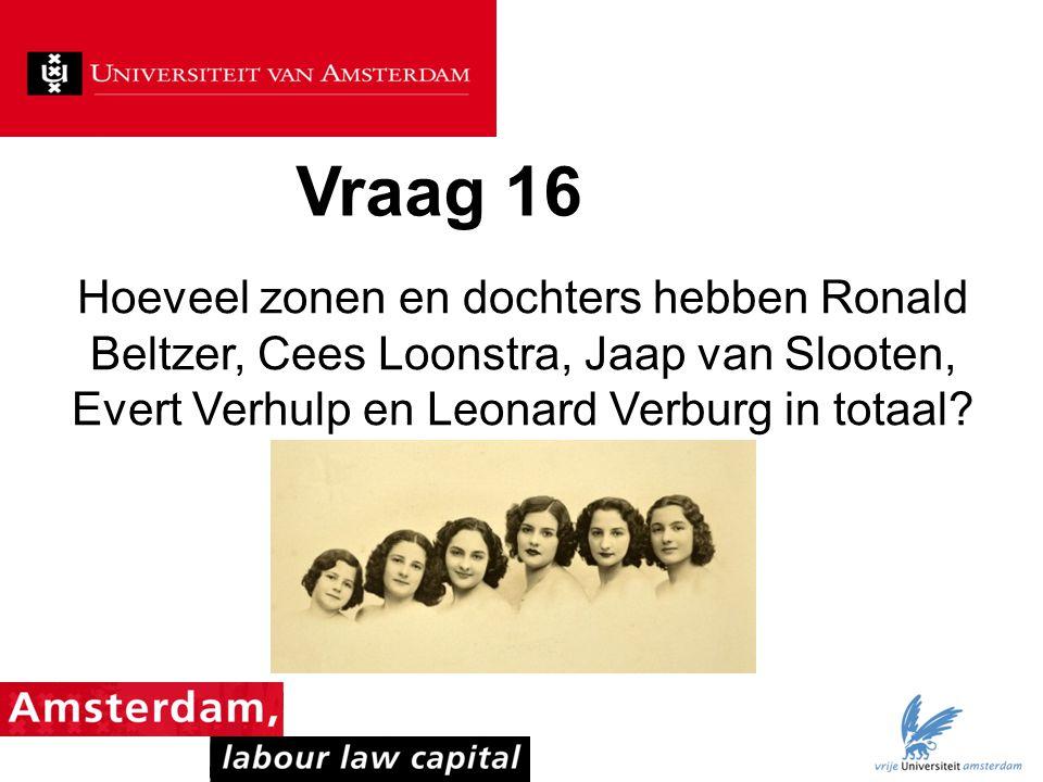 Vraag 16 Hoeveel zonen en dochters hebben Ronald Beltzer, Cees Loonstra, Jaap van Slooten, Evert Verhulp en Leonard Verburg in totaal?