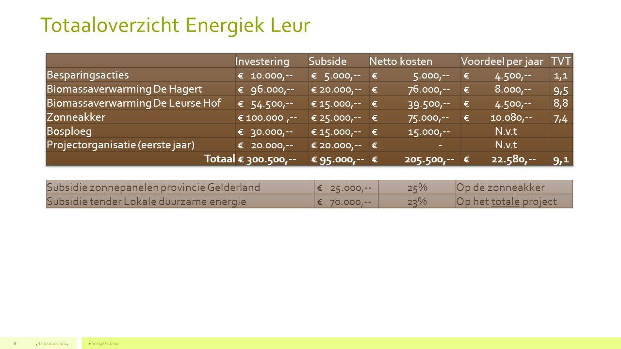 Totaaloverzicht Energiek Leur 3 februari 2014Energiek Leur8 Subsidie zonnepanelen provincie Gelderland € 25.000,--25%Op de zonneakker Subsidie tender