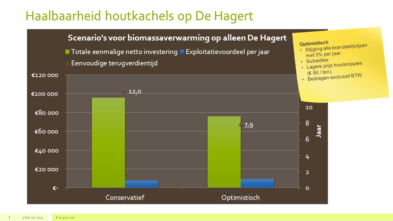 Haalbaarheid houtkachels op De Hagert 83 februari 2014Energiek Leur Optimistisch Stijging alle brandstofprijzen met 3% per jaar. Subsidies Lagere prij