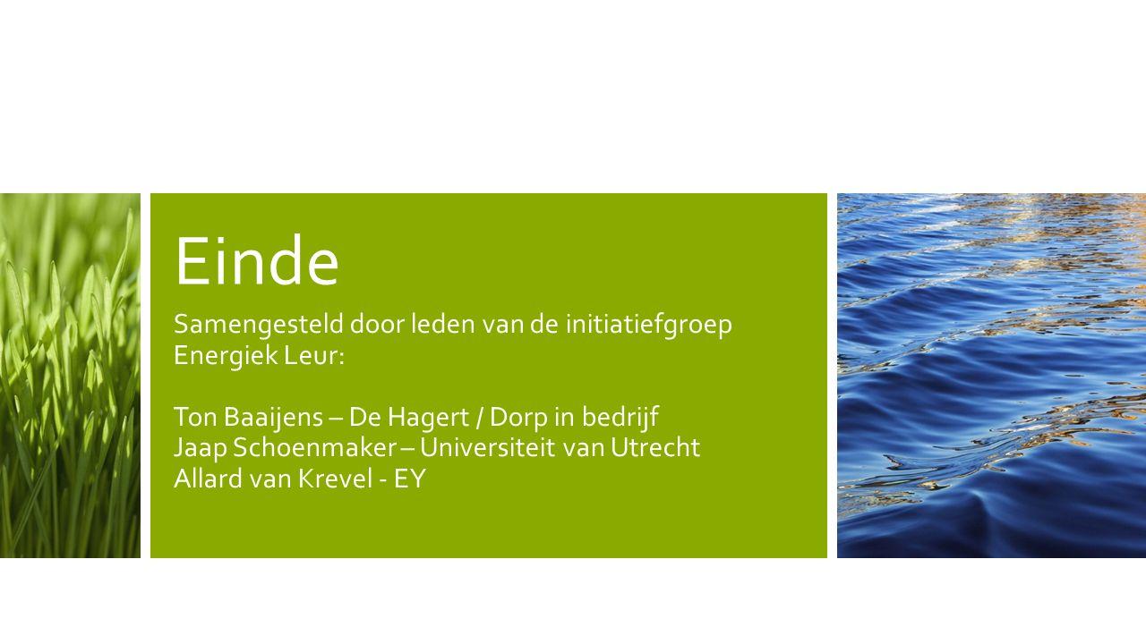 Einde Samengesteld door leden van de initiatiefgroep Energiek Leur: Ton Baaijens – De Hagert / Dorp in bedrijf Jaap Schoenmaker – Universiteit van Utr