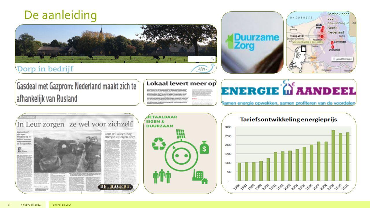 Introductie (1) 3 februari 2014Energiek Leur8 In het project Energiek Leur maken we een verbinding tussen diverse initiatieven en activiteiten op het gebied van energie, zorg, het sociale domein, het bedrijfsleven, recreatie, educatie en cultuur.