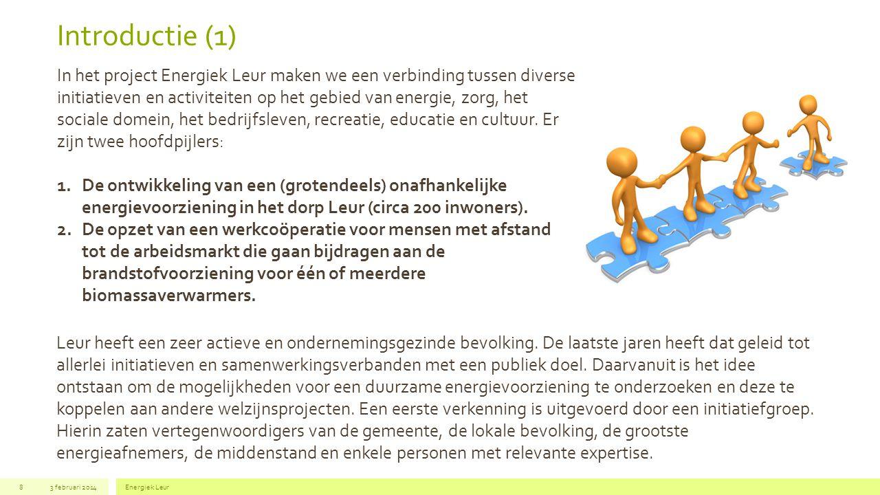 Introductie (2) 3 februari 2014Energiek Leur8 De verkenning leverde een aantal realistische mogelijkheden op; niet haalbare voorstellen werden direct gemarkeerd.