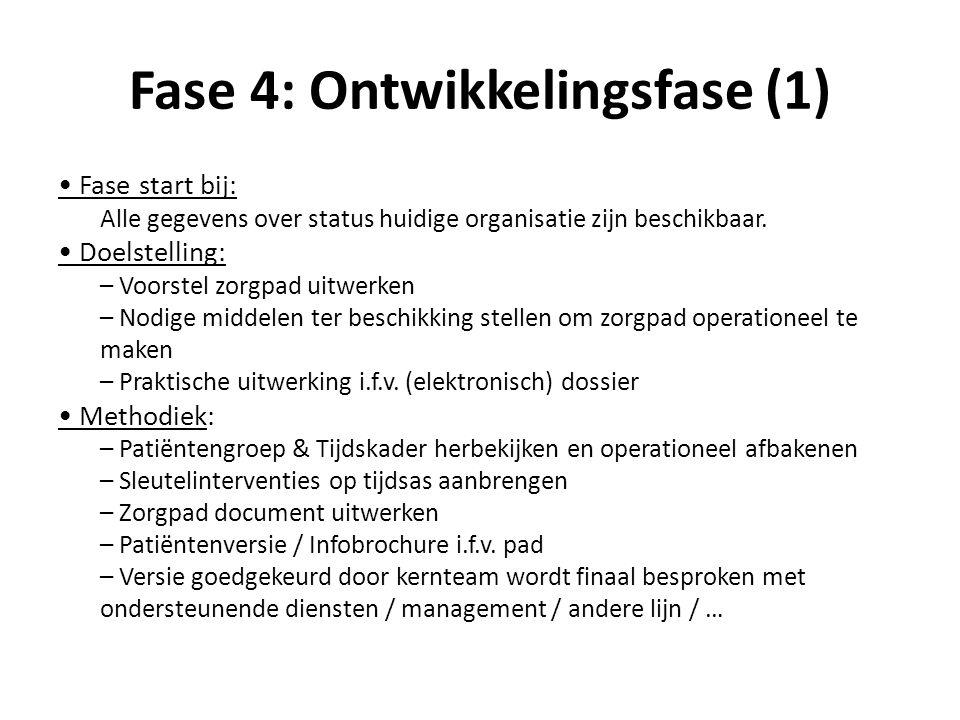 Fase 4: Ontwikkelingsfase (1) Fase start bij: Alle gegevens over status huidige organisatie zijn beschikbaar. Doelstelling: – Voorstel zorgpad uitwerk
