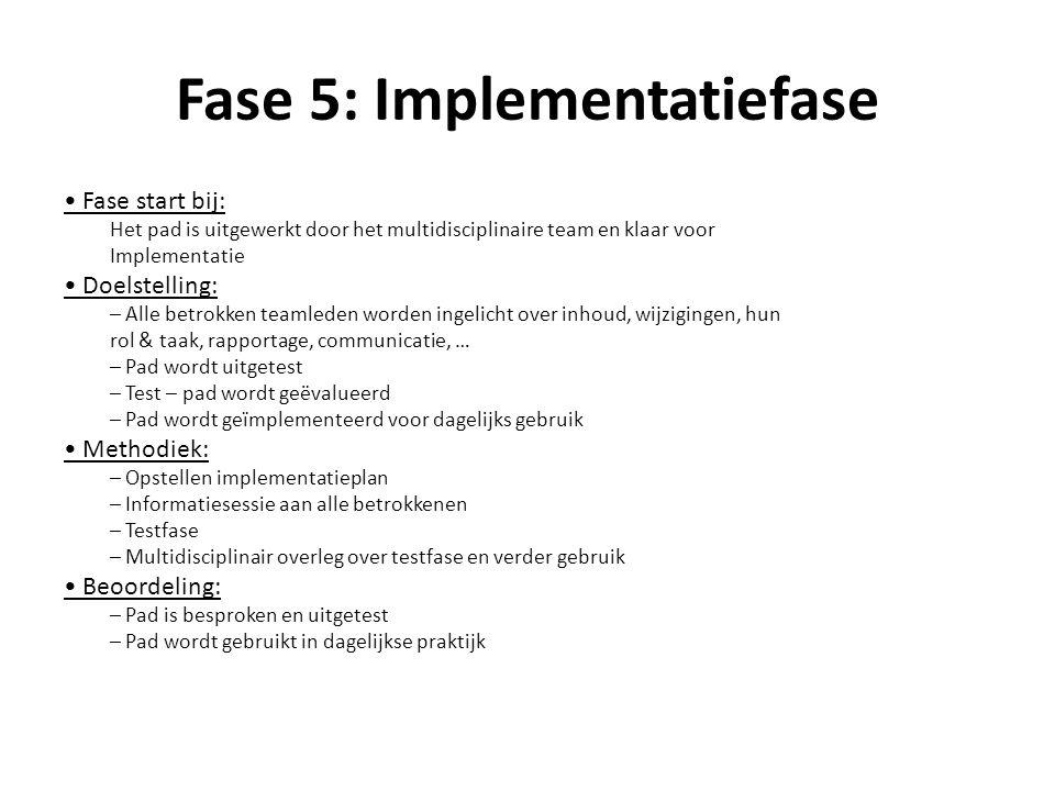Fase 5: Implementatiefase Fase start bij: Het pad is uitgewerkt door het multidisciplinaire team en klaar voor Implementatie Doelstelling: – Alle betr