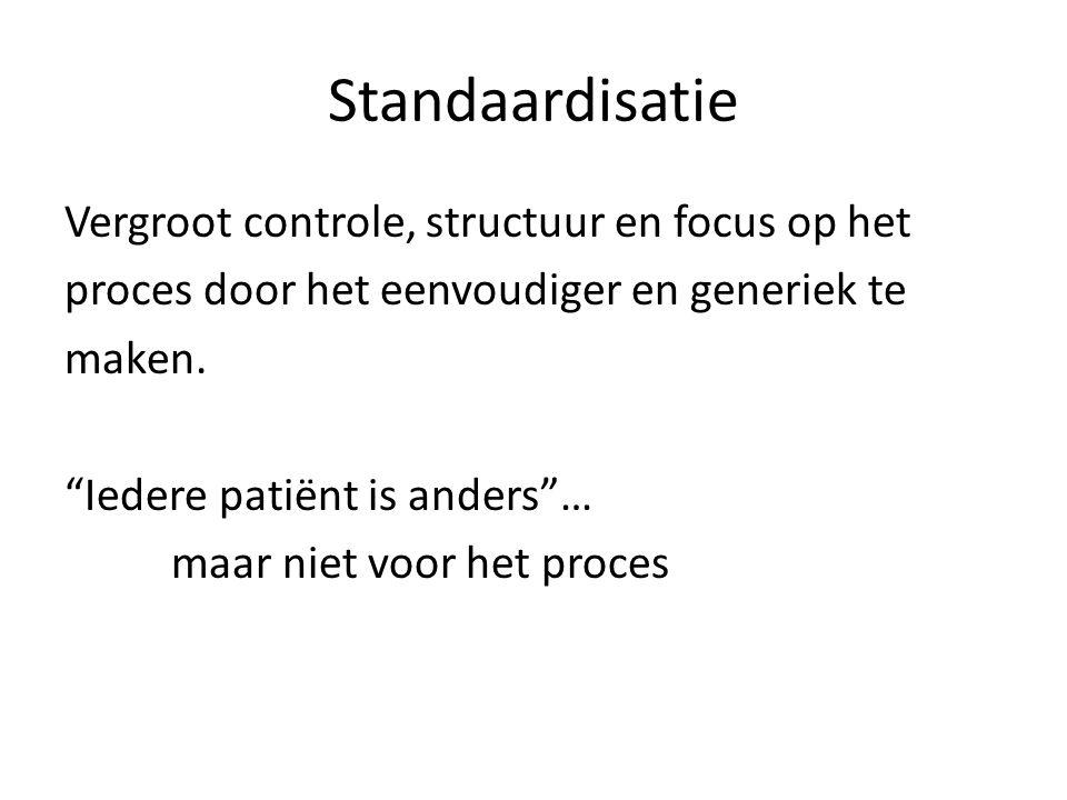 """Standaardisatie Vergroot controle, structuur en focus op het proces door het eenvoudiger en generiek te maken. """"Iedere patiënt is anders""""… maar niet v"""
