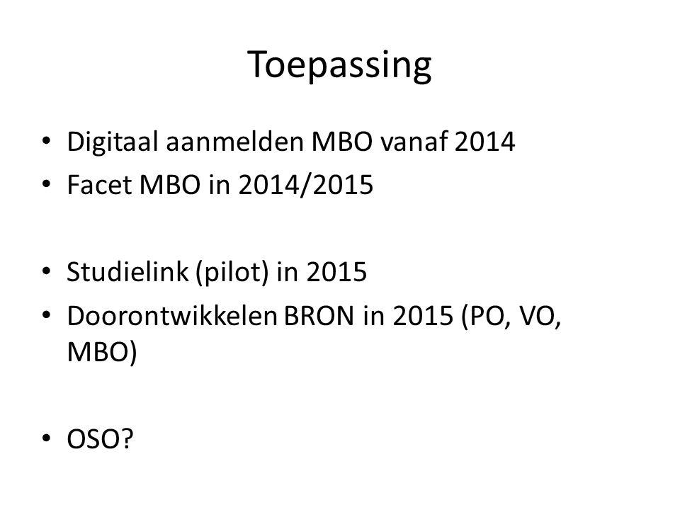 Toepassing Digitaal aanmelden MBO vanaf 2014 Facet MBO in 2014/2015 Studielink (pilot) in 2015 Doorontwikkelen BRON in 2015 (PO, VO, MBO) OSO?