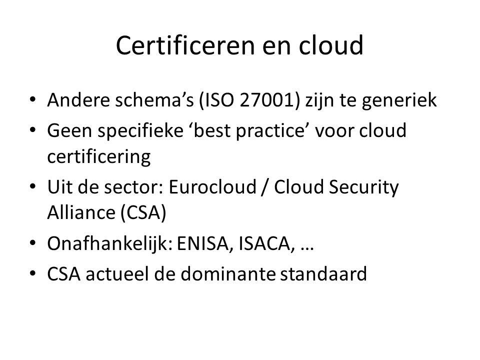 Certificeren en cloud Andere schema's (ISO 27001) zijn te generiek Geen specifieke 'best practice' voor cloud certificering Uit de sector: Eurocloud /