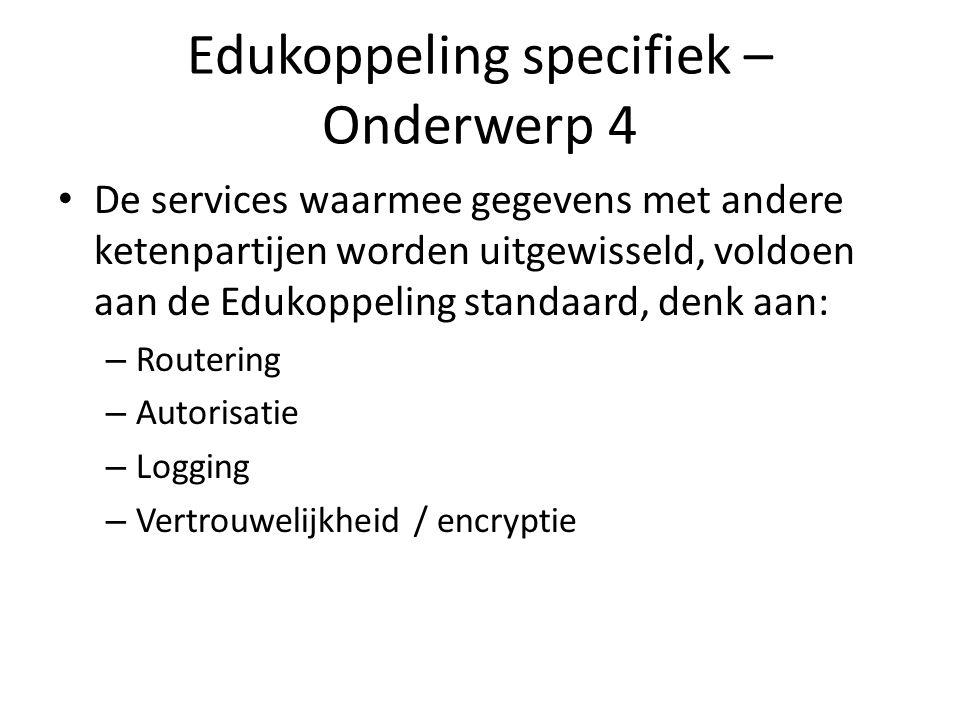 Edukoppeling specifiek – Onderwerp 4 De services waarmee gegevens met andere ketenpartijen worden uitgewisseld, voldoen aan de Edukoppeling standaard,