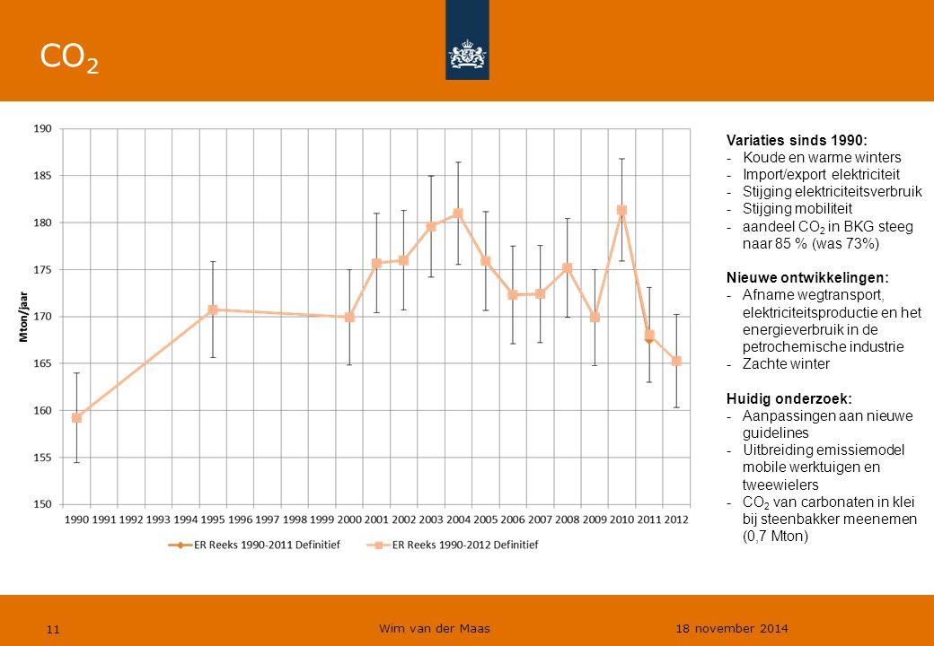 Wim van der Maas 18 november 2014 11 CO 2 Variaties sinds 1990: -Koude en warme winters -Import/export elektriciteit -Stijging elektriciteitsverbruik