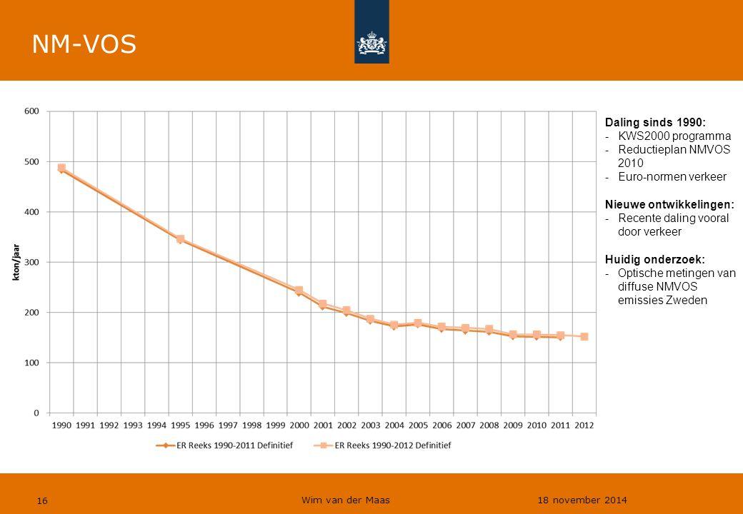 Wim van der Maas 18 november 2014 16 NM-VOS Daling sinds 1990: -KWS2000 programma -Reductieplan NMVOS 2010 -Euro-normen verkeer Nieuwe ontwikkelingen: