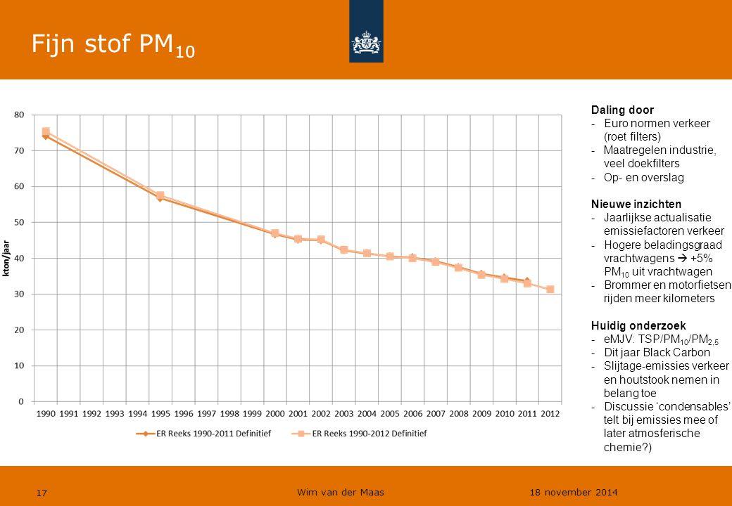 Wim van der Maas 18 november 2014 17 Fijn stof PM 10 Daling door -Euro normen verkeer (roet filters) -Maatregelen industrie, veel doekfilters -Op- en