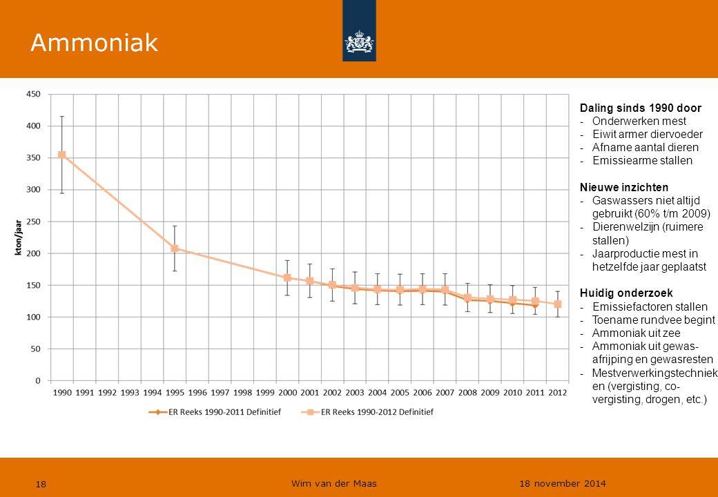 Wim van der Maas 18 november 2014 18 Ammoniak Daling sinds 1990 door -Onderwerken mest -Eiwit armer diervoeder -Afname aantal dieren -Emissiearme stal