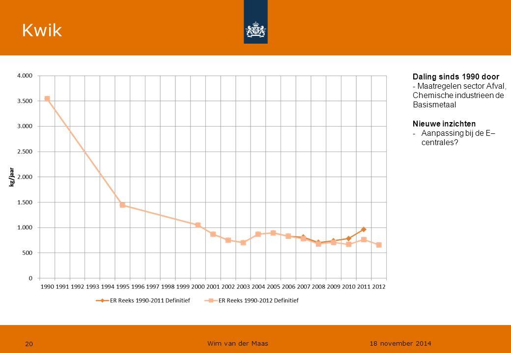 Wim van der Maas 18 november 2014 20 Kwik Daling sinds 1990 door - Maatregelen sector Afval, Chemische industrieen de Basismetaal Nieuwe inzichten -Aa