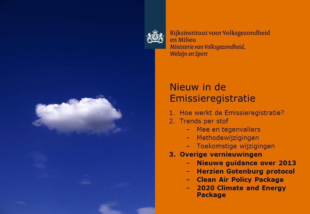 Nieuw in de Emissieregistratie 1.Hoe werkt de Emissieregistratie? 2.Trends per stof –Mee en tegenvallers –Methodewijzigingen –Toekomstige wijzigingen