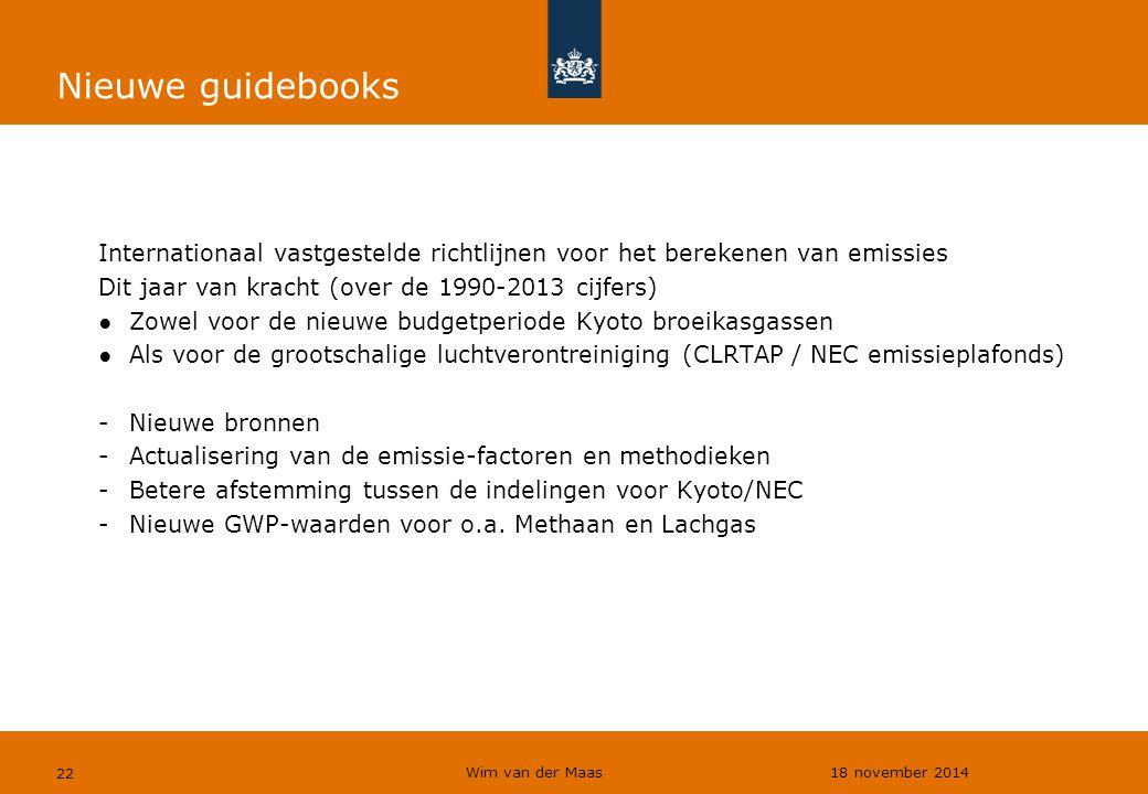 Wim van der Maas 18 november 2014 22 Nieuwe guidebooks Internationaal vastgestelde richtlijnen voor het berekenen van emissies Dit jaar van kracht (ov