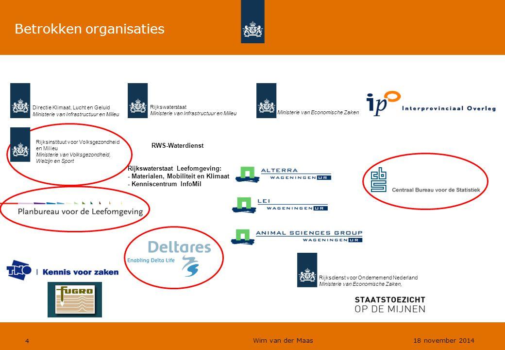 4 Betrokken organisaties Rijkswaterstaat Leefomgeving: - Materialen, Mobiliteit en Klimaat - Kenniscentrum InfoMil Directie Klimaat, Lucht en Geluid M