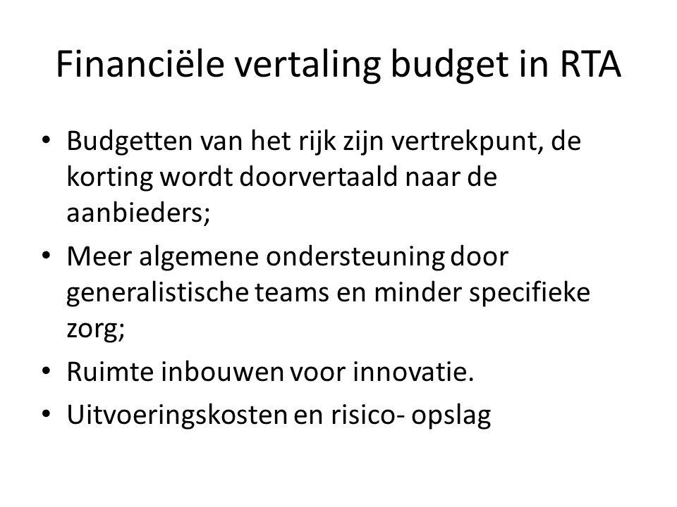 Financiële vertaling budget in RTA Budgetten van het rijk zijn vertrekpunt, de korting wordt doorvertaald naar de aanbieders; Meer algemene ondersteuning door generalistische teams en minder specifieke zorg; Ruimte inbouwen voor innovatie.